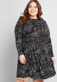 ModCloth ModCloth Yours Truly Long Sleeve Dress Bl