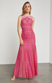 BCBG Elinor Sleeveless Lace Gown