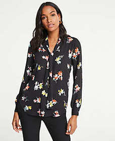Tall Meadow Floral Tie Neck Blouse