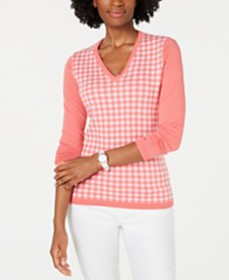 Tommy Hilfiger Cotton Gingham-Front Sweater, Creat