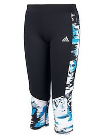 Adidas Girl's Run Capri Tights BLACK MULTI