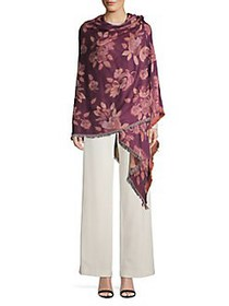Collection 18 Fringe Floral Wrap Scarf PURPLE