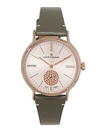 Lucky Brand Laurel Leather and Rose Goldtone Watch