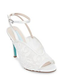 Betsey Johnson Lula Embroidered Ankle Strap Pumps