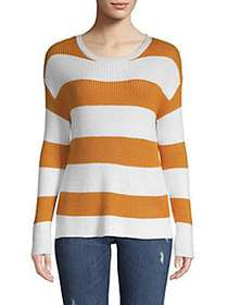 FOR THE REPUBLIC Striped Long-Sleeve Sweater AMBER