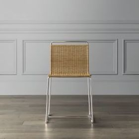 Metal and Rattan Side Chair