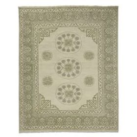 Floral Medallion Hand Knotted Rug, Ivory