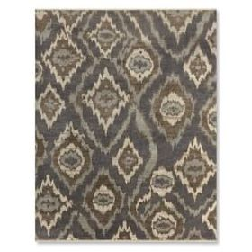 River Ikat Hand Knotted Rug, Steel