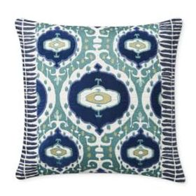 Adaani Applique Embroidered Pillow Cover, Turquois