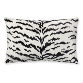Scalamandre Tiger Lumbar Pillow Cover, White