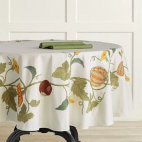 Harvest Embroidery Round Tablecloth