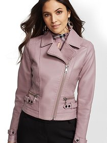 Faux-Leather Moto Jacket - New York & Company