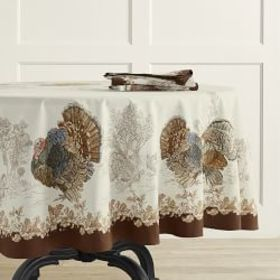 Plymouth Turkey Tablecloth, Round