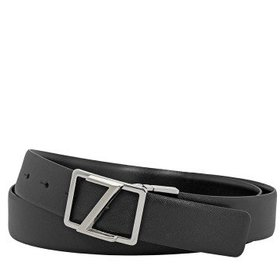 ZegnaXXL Men's Reversible Leather Belt- Black- 43""