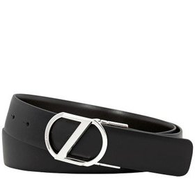 ZegnaLarge Reversible Calfskin Leather Belt Black/
