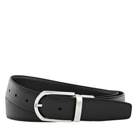 ZegnaXXL Men's Leather Belt- Black- 43""