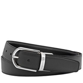 ZegnaXL Men's Leather Belt- Black- 42""