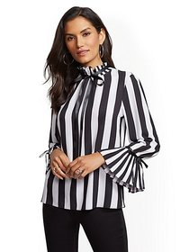 Stripe Ruffled-Trim Crepe Blouse - New York & Comp