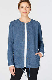 Pure Jill Indigo Crinkled Jacket