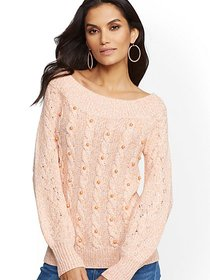 Faux-Pearl Marled Off-The-Shoulder Sweater - New Y