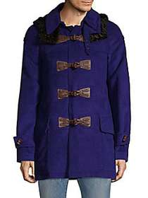 Roberto Cavalli Calf Hair-Trimmed Toggle Coat BLUE