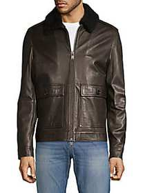 Boss Hugo Boss Graven Shearling-Collar Leather Jac