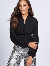 Shirred V-Neck Blouse - Gabrielle Union Collection