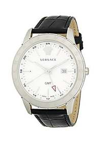 Versace Analog Stainless Steel Leather Strap Watch