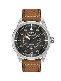Citizen Mens Eco-Drive Avion Watch with Brown Leat