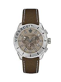 Versace Casual Stainless Steel & Leather-Strap Chr