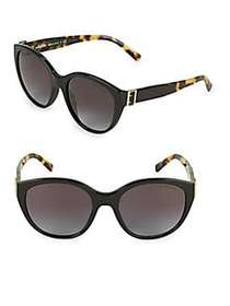 Burberry 55MM Tortoiseshell Tipped Round Sunglasse