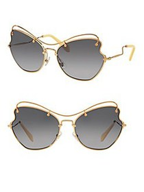 Miu Miu 65MM Waved Sunglasses LIGHT GREY