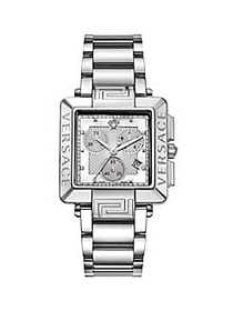 Versace Revive Carre Stainless Steel, Diamond & Mo