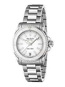 Gucci Dive Stainless Steel Bracelet Watch/White SI