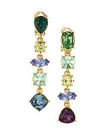 Kenneth Jay Lane Multicolor Glass Stones Clip-On D