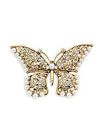 Kenneth Jay Lane Faux Pearl Butterfly Pin GOLD
