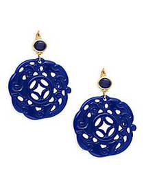 Kenneth Jay Lane Lapis Carved Drop Earrings LAPIS