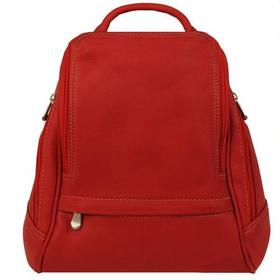 Le Donne Mid Size Leather Multi Zip Pocket Backpac