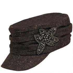 David and Young Wool-Blend Military Hat w/ Flower