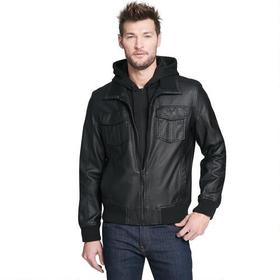 Big & Tall Black Rivet Faux-Leather Bomber Jacket