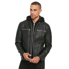 Black Rivet Rugged Faux-Leather Cycle Jacket w/ Re