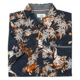 Young Mens Burnside Tigers and Bamboo Print Button