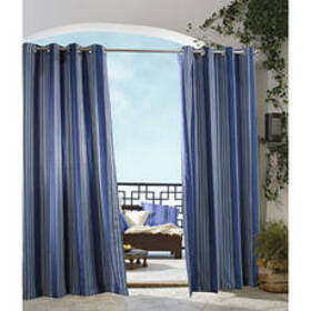 Gazebo Indoor/Outdoor Striped Curtain Panel - Blue