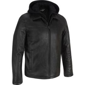 Big & Tall Black Rivet Lamb Jacket w/ Hood