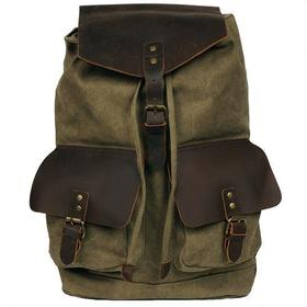Black Rivet Hunter Canvas Backpack w/ Leather Acce