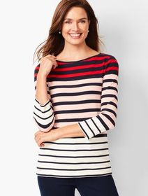 Talbots Cotton Bateau-Neck Tee - Colorblock