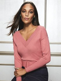 Lucia V-Neck Belted Sweater - Eva Mendes Collectio