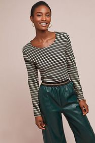 Anthropologie Metallic Striped Top