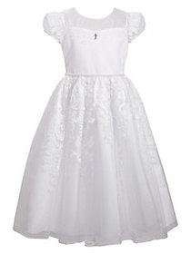 Iris & Ivy Girl's Communion Illusion Dress WHITE