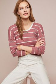 Anthropologie Striped Waffle Top